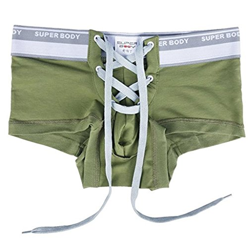 YiZYiF Men's Sexy Lingerie Cotton Tie Rope Sporty Boxer Brief Trunk Pants Army Green X-Large