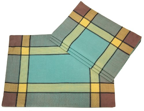 (Xia Home Fashions 4-Pack Riviera Collection Contemporary Placemat, 14-Inch by 20-Inch, Teal)