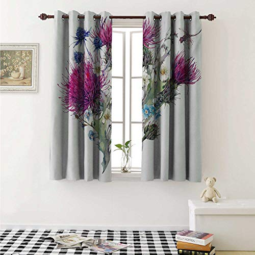 Flyerer Dragonfly Decorative Curtains for Living Room Summer Natural Meadow Herbs Bouquet Wild Thistles Chamomiles Watercolor Boho Art Curtains Kids Room W72 x L72 Inch Multicolor