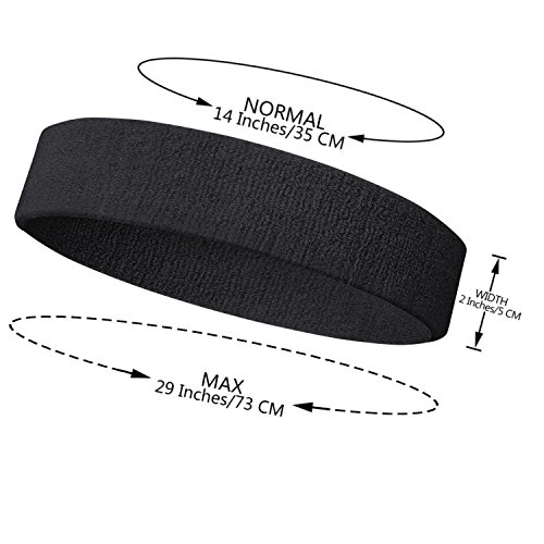 NEXTOUR Sweatband Headband/Wristband Perfect for Basketball, Running, Football, Tennis Terry Cloth Athletic Sweatbands Fits to Men and Women, Gray, Black, Maroon, 3/6 Piece