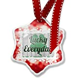 Christmas Ornament Lucky Everyday St. Patrick's Day Shamrock on Wood, red - Neonblond