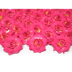"(100) Silk Hot Pink Roses Flower Head - 1.75"" - Artificial Flowers Heads Fabric Floral Supplies Wholesale Lot for Wedding Flowers Accessories Make Bridal Hair Clips Headbands Dress 95"