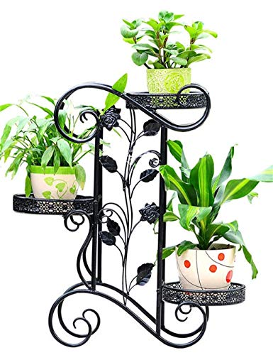 Outdoor Herb Flower Plant Stands Iron Floor 3-Tier Flower Pot Shelf European and American Antique Flower Rack Flower Stand Chlorophytum Green Radish Plant Pot Holder for Bedroom Balcony Livi