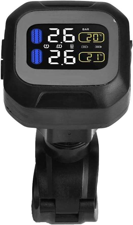 EBTOOLS Motorrad Wireless TPMS wasserdichtes TPMS Reifendruckkontrollsystem mit 2 externen Sensoren