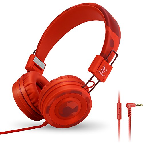 Yomuse C89 On Ear Foldable Headphones w/ Microphone, Adjustable Headband for Kids Adults, iPhone iPad iPod Computers Tablets SmartPhones DVD, Camo Red