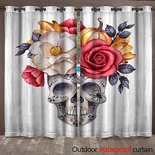 Outdoor Curtain Panel for Patio Watercolor Illustration Halloween Floral Skull Fall Flowers Autumn Pumpkin Dia de Los Muertos Festive Clip Art Isolated on White backgr Waterproof CurtainW120 x L108