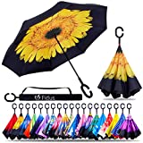 Fidus Double Layer Inverted Reverse Umbrella, Winproof Waterproof Folding UV Protection Self Stand Upside Down Large Car Rain Golf Outdoor Rain Umbrella with C-Shaped Handle for Men Women(Sunflower)