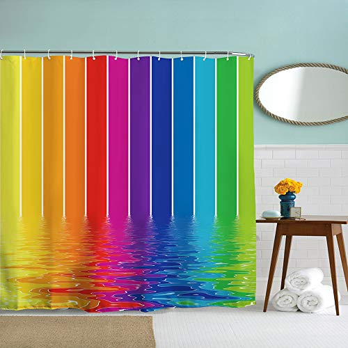 DENGYUE Color Lava Shower Curtain, Fabulous Light Beams Melting in Water Impressionism Soft Color Blending in Bath Tub Funny Shower Time Bathroom Decor No Mold Micro Fabric Bath (Rainbow Stripes Curtain)