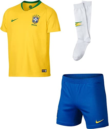 Brazil Home World Cup Kids Soccer Jersey with matching shorts All Youth Sizes Ages
