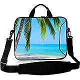 Wondertify 17-17.3 Inch Waterproof Neoprene Laptop Shoulder Bag Briefcase - Beach Sunshine Sand Palm Sea Blue Sky Summer Vacation Water Protective Bag for Macbook/Tablet/ASUS/Samsung/Lenovo/HP/Dell