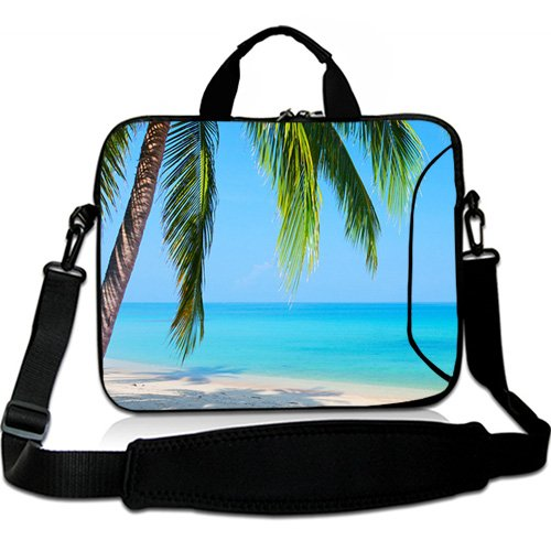 Wondertify 17-17.3 Inch Waterproof Neoprene Laptop Shoulder Bag Briefcase - Beach Sunshine Sand Palm Sea Blue Sky Summer Vacation Water Protective Bag for Macbook/Tablet/ASUS/Samsung/Lenovo/HP/Dell