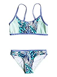 Roxy Big Girls\' Geo Mix\' in Athletic Set Two Piece Swimsuit, Tropical Days Marshmallow, 16