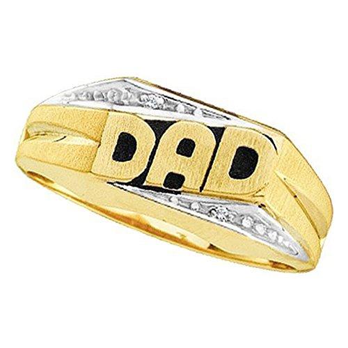 0.01 Carat (ctw) 14K Yellow Gold Round Cut White Diamond Men's