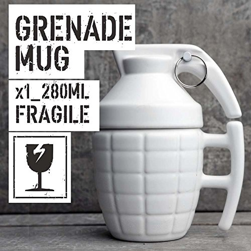 NDHT Grenade Shaped Mug Creative Tabletop with Lid Water Cup Coffee Cup with Cover,White