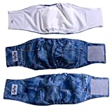 JoyDaog Jean Belly Bands for Male Dog Diapers Reusable Belly Wrap XXL(Pack of 3)