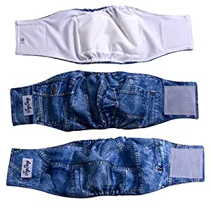 JoyDaog Jean Belly Bands for Small Dog Diapers Reusable Male Puppy Wrap S(Pack of 3)