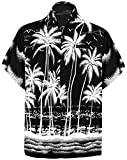 LA LEELA Men's Funky Hawaiian Shirt Aloha Beach Party Holiday Camp XL Black_W452