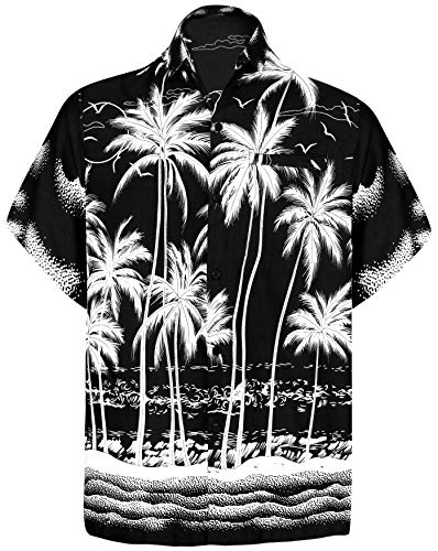LA LEELA Men's Funky Hawaiian Shirt Aloha Beach Party Holiday Camp XL Black_W452 (Black Friday Best Deals 2019)