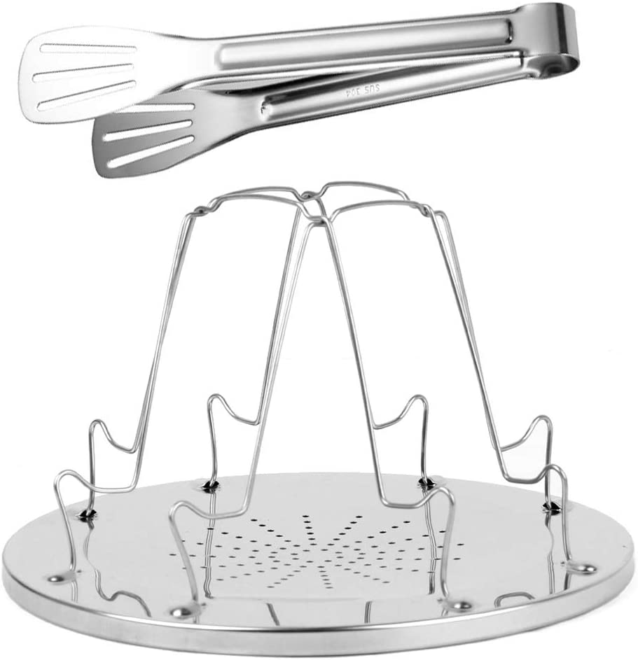 1 Pack Stainless Camping Toaster - Portable Folding Camp Stove Toaster 4 Slice - 1 Pack Barbeque Bread Clip Included - Camp Stove Toaster Rack For Indoor Baking & Outdoor Camping Picnic