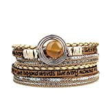 JOYMIAO Agate Multi-layer Leather Bracelet - Handmade Wrap Cuff Bangle - Alloy Magnetic Clasp Jewelry for Women,Girl Gift By