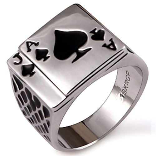 JAJAFOOK Mens Stainless Steel Vintage Ring Black Silver Enamel Spades Poker Ring - Playing Cards Ring