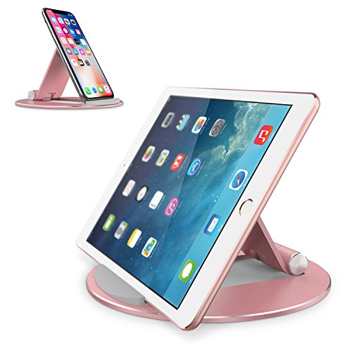 Adjustable Tablet Stand, OMOTON Aluminum Desktop Tablet Cellphone Stand with Anti-Slip Base, Portable Stand Holder for iPad Tablet, Samsung Tab, E-Reader and Cellphones, Rose Gold
