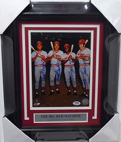 Cincinnati Reds Big Red Machine Autographed Framed 8x10 Photo With 4 Signatures Including Johnny Bench, Pete Rose, Joe Morgan & Tony Perez PSA/DNA #4A86044 Big Red Machine Framed Photo