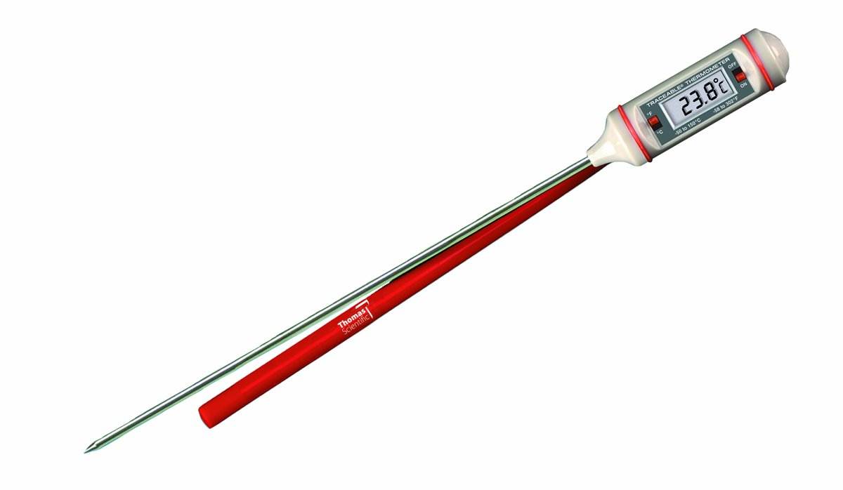 Thomas Traceable Long Stem Digital Thermometer, with 3/8'' High LCD Display, 8'' Stem, + or - 0.2 degree accuracy, -58 to 302 degree F, -50 to 150 degree C