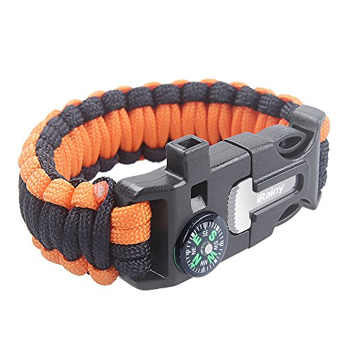 iRainy-Ultimate-Paracord-Bracelet-Emergency-Outdoor-Survival-Kit-W-16-pcs-Survival-Gear-includes-Compass-Flint-Fire-Starter-Scraper-Whistle-11-pcs-Fishing-Gear-for-Hiking-Camping