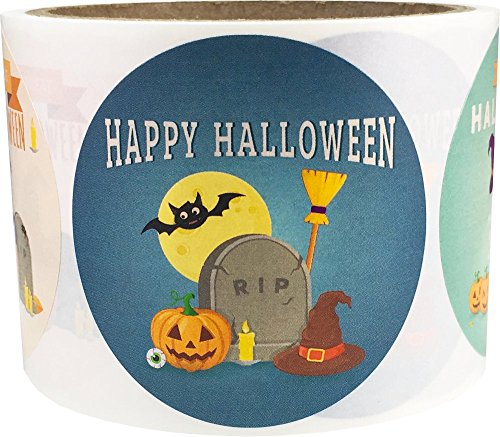 Happy Halloween Stickers 2.5 inch Round Circle Dots 4 Different Designs 100 Total Adhesive Stickers ()