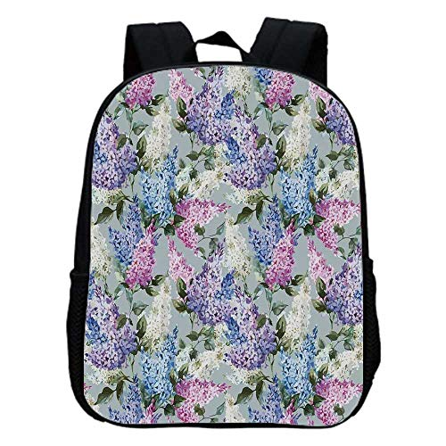 Mauve Decor Fashion Kindergarten Shoulder Bag,Various Mix Hyacinth Garden with Flowers and Leaf Branches Summer Plants For Hiking,One_Size