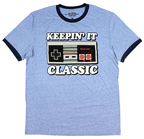 Nintendo Mens Classic NES Controller Keepin' It Classic Ringer T-Shirt (X-Large) (Navy Classic Ringer T-shirt)