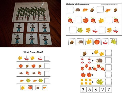 Amazon.com: 4 Pack laminated preschool Fall Harvest themed ...