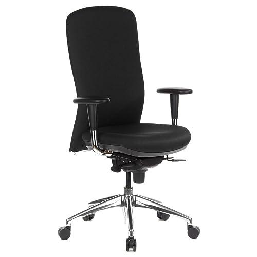 hjh OFFICE 710400 silla de oficina HIGH TEC tejido negro con apoyabrazos respaldo alto buen acolchado cromado asiento ajustable en profundidad buen acabado alta calidad silla alta gama