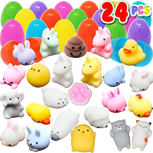 24 Pieces Mochi Squishy Prefilled Easter Eggs; 2 1/4 inch Eggs for Easter Basket Stuffers, Filled Easter Egg Hunt Event, Kawaii Unicorn Squishies Party Favor, Goodie Bag Filler, Claw Machine]()
