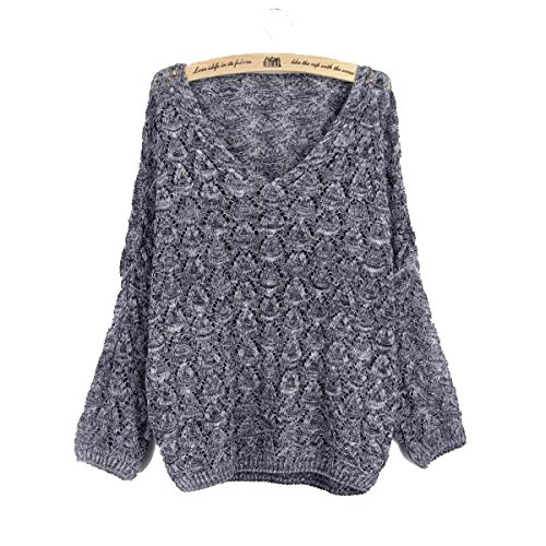 IF FEEL Womens Long Sleeve Oversized Knitted V-Neck Casual Pullovers Sweater (One Size, - Infinity Nyc Clothing Store