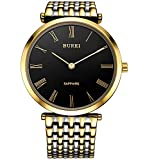 BUREI Unisex Gold-Tone Luxury Analog Watch with Stainless Steel Bracelect and Black Dial