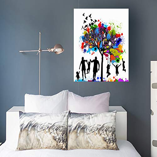 DaniulloRU Painting Canvas Wall Art Print Colored Tree Family Child People Colorful Modern Artwork 16 x 16 Home Decor Bedroom Living Room (Diversity Poster Pack)