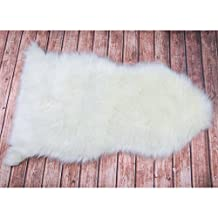 Faux Fur Sheepskin Rug, 2ft x 3ft White soft Area Rug with Super Fluffy Thick for Kid's Room, Bedroom, Nursery, Armchair, Living Room, Bathroom and Couch