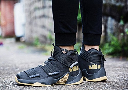 Jiye Mens Basketskor För Womens Prestanda Sport Kardborrband Sneakers Med Svart Gul-1