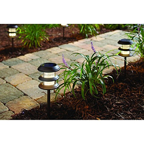 Hampton Bay Solar Light Ground Stakes: Outdoor Solar Powered Landscape LED Mediterranean Bronze