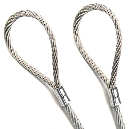 Coated Galvanized Steel Cable (1ft Custom Cut Clear PVC Coated GALVANIZED Steel Wire Rope Cable 1/8 inch Core Diameter 7x19 Strand 3/16 inch Overall with 2x SST Sleeve Moderate Corrosion Resistance cable breaking strength 2000lbs)