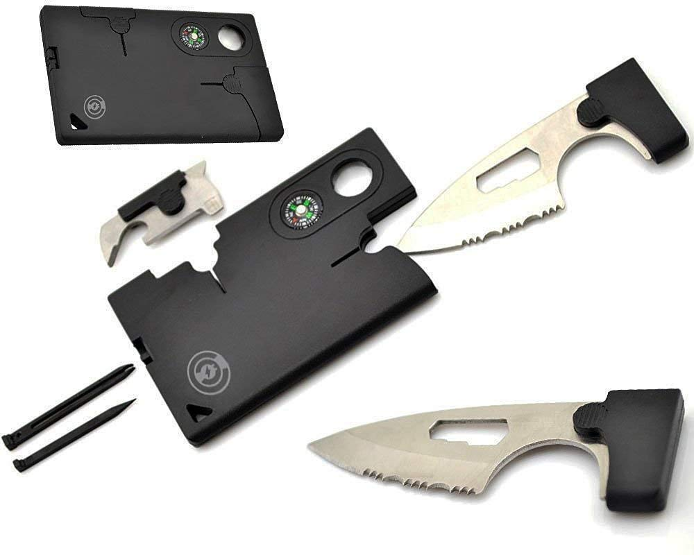 Credit Card Tool [5 Pack] Survival Pocket Knife By Cable And Case [CCMT1] Credit Card Comrade Survival Card - The Best 10 in 1 Multitool Wallet Emergency Survival Companion Gift by Cable And Case (Image #1)