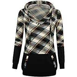 FEITONG Women Long Sleeve Plaid Pullover Color Block Hooded Kangaroo Pockets Shirt Top(Medium,Yellow)