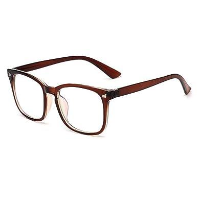 e767f7beb1d1e Hzjundasi Rétro Vintage Des lunettes pour Femme et Hommes Carré Lentille  claire Mode Cadre Lunettes Anti-fatigue UV400  Amazon.fr  Vêtements et  accessoires