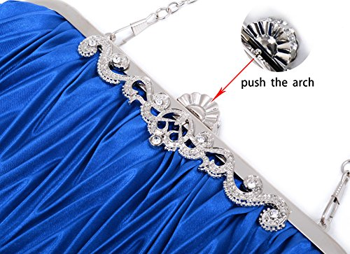 PULAMA Clutch Blue Vintage Elegant with Decoration Royal Envelope Wallet Purse Satin grgH6q