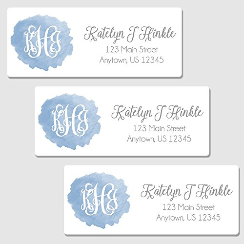 - Oh Baby! Stickers & More 60 Personalized Blue Monogram Return Address Labels - Customized Watercolor Address Labels (AL97)