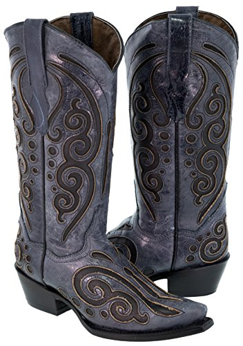 Texas Legacy Women's Denim Blue Black Butterfly Inlay Leather Cowboy Boots 8 (Leather Inlay Cowgirl Boots)