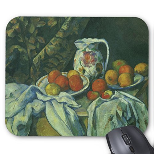 Zazzle Curtain and Flowered Pitcher By Paul Cezanne Mouse Pad