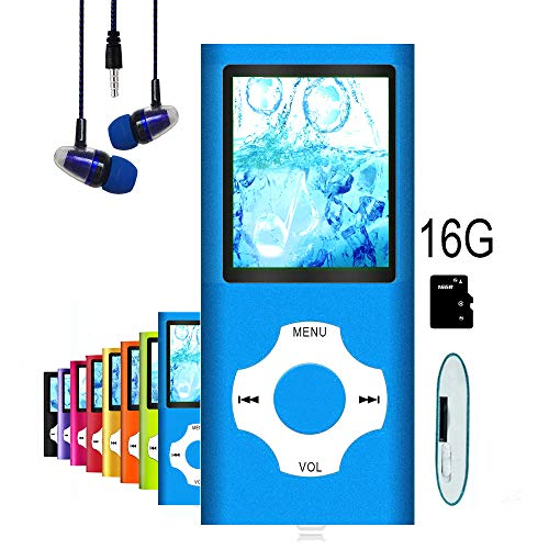 MP3 Player/MP4 Player, Hliwoynes MP3 Music Player with 16GB Memory SD card Slim Classic Digital LCD 1.82
